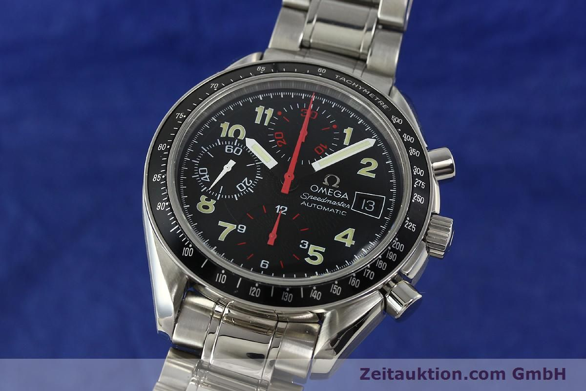 omega speedmaster day date chrono 40mm omega speedmaster watch featuring an automatic movement with chronograph and 24-hour indicator complications and day-date omega speedmaster chronograph.