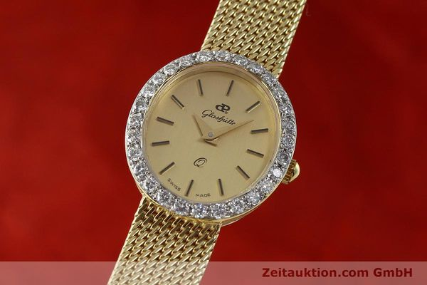 GLASHÜTTE LADY Q 14K GOLD MIT GOLDARMBAND DAMENUHR ORIGINAL BESONDERHEIT [143129]