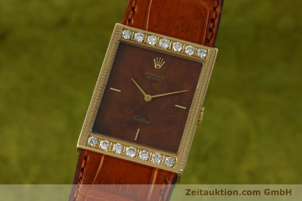 ROLEX 18K GOLD CELLINI HERRENUHR KARREÈ 4127 HANDAUFZUG DIAMANTEN VP: 12250,- EU [150047]