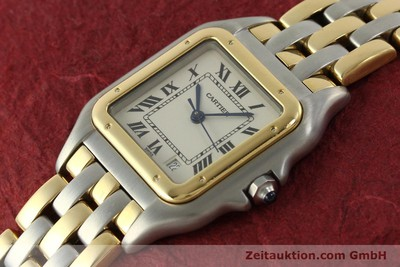 CARTIER PANTHERE GOLD / STAHL HERRENUHR MEDIUM KARRÉE DESIGNKLASSIKER VP: 7100,- [151292]