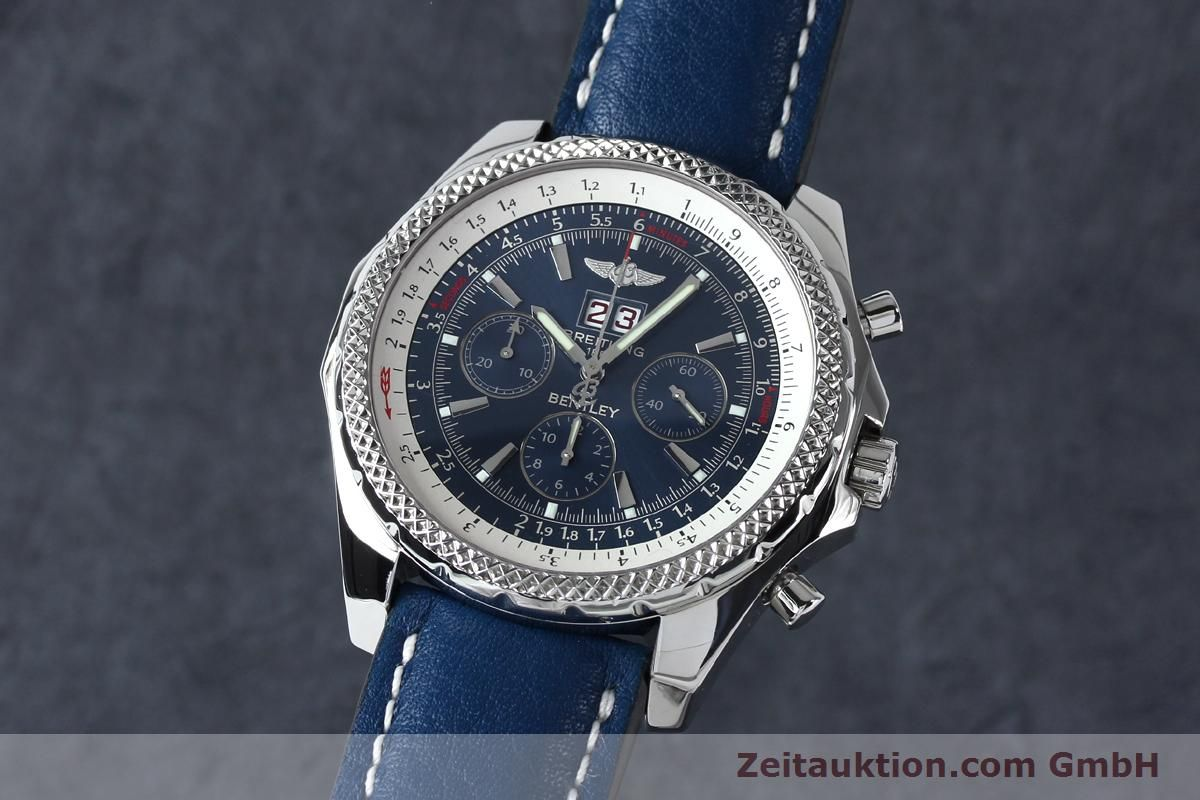 chronograph watch blue luxurysportstyles stainless dial breitling pin steel motors bentley