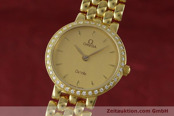 OMEGA LADY 18K (0,750) GOLD DE VILLE DIAMANTEN DAMENUHR VP: 9300,- EURO [152425]