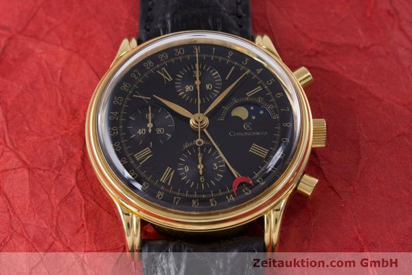 Used luxury watch Chronoswiss A. Rochat chronograph gold-plated automatic Kal. Valj.  7750 Ref. 77990  | 153112 15