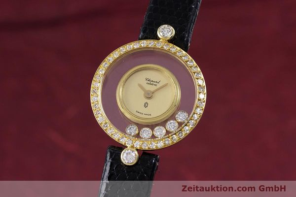 gebrauchte Luxusuhr Chopard Happy Diamonds 18k Gold Quarz Kal. F.H.F. 101001 Ref. 4052  | 153211 04