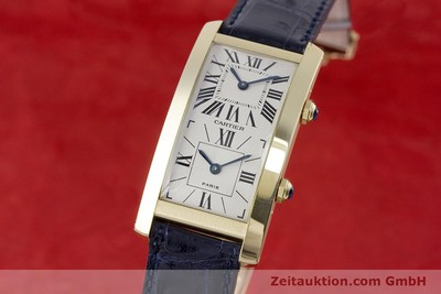 CARTIER 18K GOLD TANK CINTREE DUAL TIME HANDAUFZUG HERRENUHR A105927 VP: 13200,- [153428]