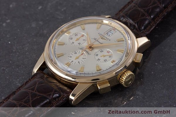 Used luxury watch Longines Conquest chronograph 18 ct gold automatic Kal. L650.2 ETA 2894-2 Ref. L1.641.8  | 160083 01