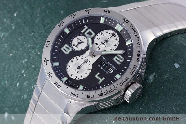 Used luxury watch Porsche Design Flat Six chronograph steel automatic Kal. ETA 7750 Ref. P6340  | 160096 01