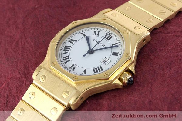 Used luxury watch Cartier Santos 18 ct gold automatic Kal. ETA 2671  | 160199 01