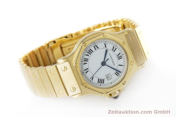 Used luxury watch Cartier Santos 18 ct gold automatic Kal. ETA 2671  | 160199 03