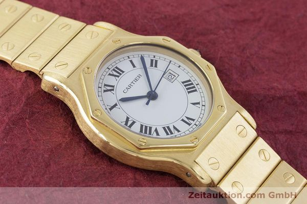 Used luxury watch Cartier Santos 18 ct gold automatic Kal. ETA 2671  | 160199 14