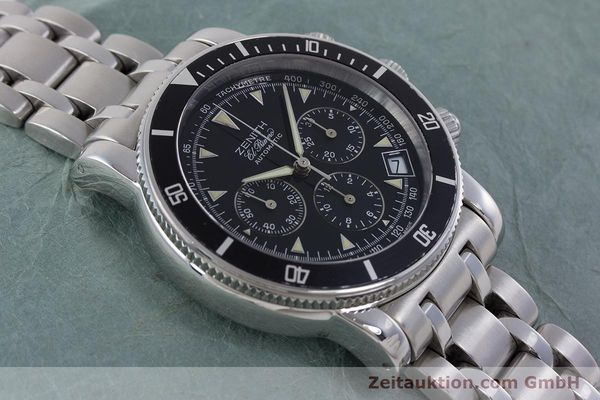 Used luxury watch Zenith El Primero chronograph steel automatic Kal. 400 Ref. 02-0370-400  | 160421 14