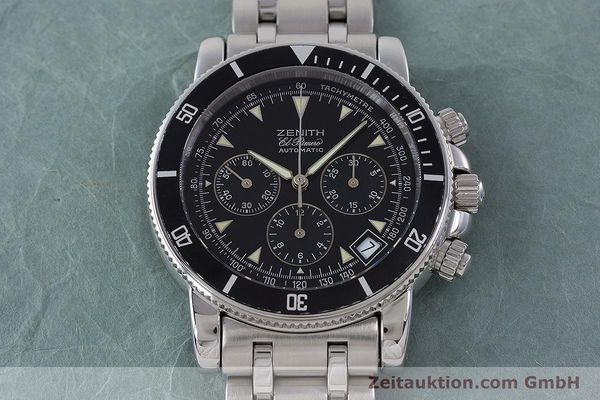 Used luxury watch Zenith El Primero chronograph steel automatic Kal. 400 Ref. 02-0370-400  | 160421 15