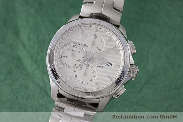 Used luxury watch Tag Heuer Link chronograph steel automatic Kal. 16 ETA 7750 Ref. CAT2011  | 160637 04