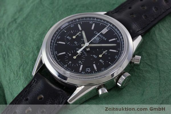 Used luxury watch Tag Heuer Carrera chronograph steel automatic Kal. 17 ETA 2894-2 Ref. CV2111-0  | 160812 01
