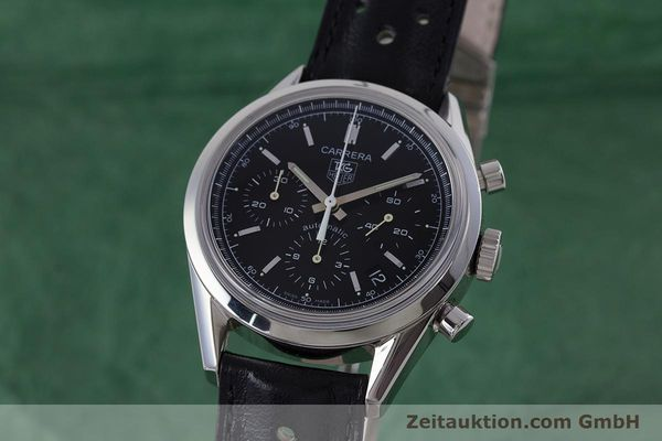 Used luxury watch Tag Heuer Carrera chronograph steel automatic Kal. 17 ETA 2894-2 Ref. CV2111-0  | 160812 04