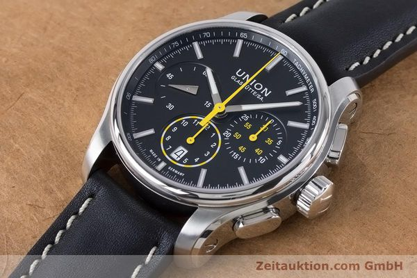 Used luxury watch Union Glashütte Belisar chronograph steel automatic Kal. U7753 ETA 7753 Ref. D002.427A  | 160882 01
