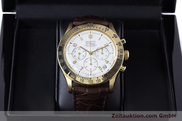 Used luxury watch Zenith El Primero chronograph 18 ct gold automatic Kal. 400 Ref. 06-0050-400  | 160974 07