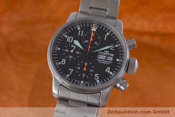 Used luxury watch Fortis Flieger Chronograph chronograph steel automatic Kal. ETA 7750 Ref. 597.10.141.2  | 161004 04