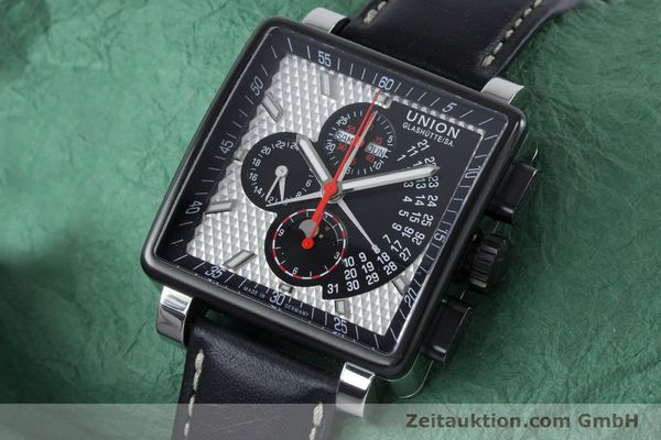 Used luxury watch Union Glashütte Averin chronograph steel automatic Kal. U7751 ETA 7751 Ref. D003.725A  | 161063 01