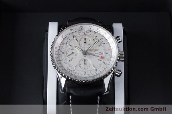 Used luxury watch Breitling Navitimer World chronograph steel automatic Kal. B24 ETA 7754 Ref. A24322  | 161112 07