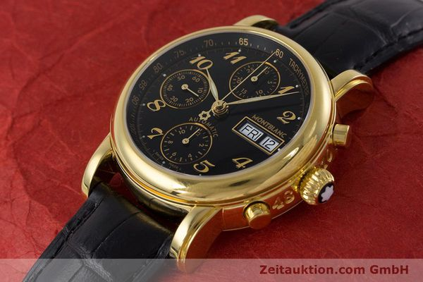 Used luxury watch Montblanc Meisterstück chronograph gold-plated automatic Kal. 4810501 ETA 7750 Ref. 7016  | 161121 01
