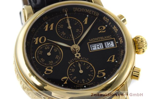 Used luxury watch Montblanc Meisterstück chronograph gold-plated automatic Kal. 4810501 ETA 7750 Ref. 7016  | 161121 02