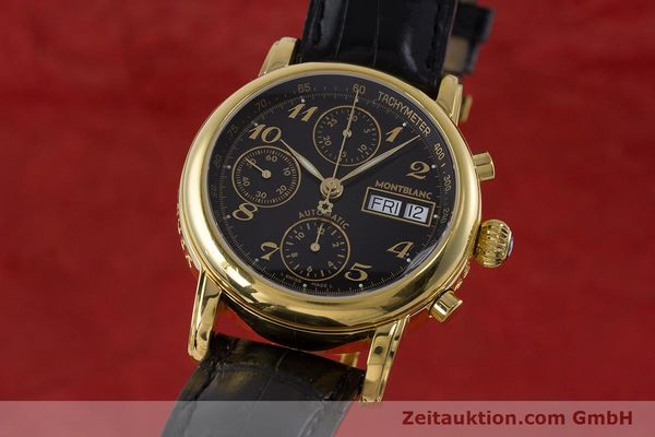 Used luxury watch Montblanc Meisterstück chronograph gold-plated automatic Kal. 4810501 ETA 7750 Ref. 7016  | 161121 04