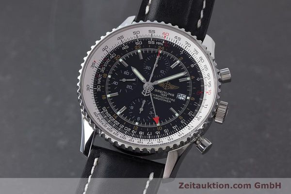 Used luxury watch Breitling Navitimer World chronograph steel automatic Kal. B24 ETA 7754 Ref. A24322  | 161157 04