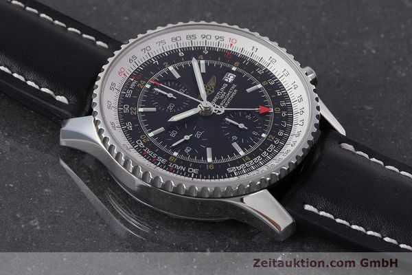 Used luxury watch Breitling Navitimer World chronograph steel automatic Kal. B24 ETA 7754 Ref. A24322  | 161157 15