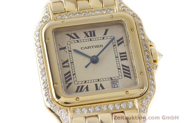 gebrauchte Luxusuhr Cartier Panthere 18k Gold Quarz  | 161239 02