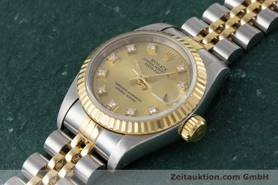 ROLEX LADY OYSTER DATEJUST GOLD /STAHL DAMENUHR DIAMANTEN REF 69173 VP: 9200,- Euro [161258]