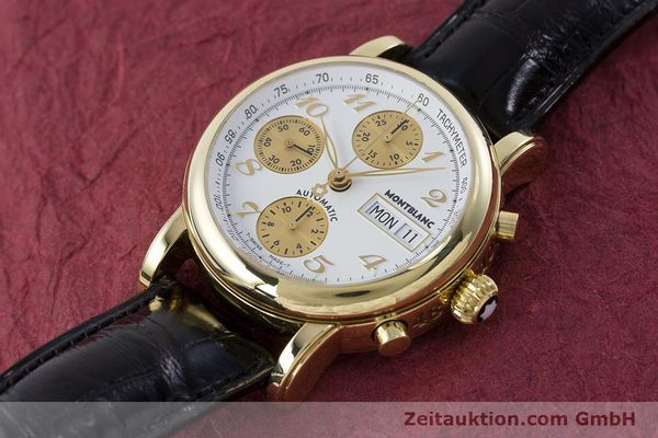 Used luxury watch Montblanc Meisterstück chronograph 18 ct gold automatic Kal. 4810501 ETA 7750 Ref. 7000  | 161304 01