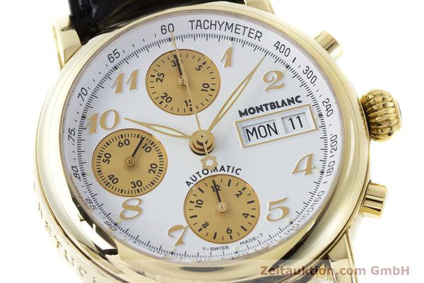 Used luxury watch Montblanc Meisterstück chronograph 18 ct gold automatic Kal. 4810501 ETA 7750 Ref. 7000  | 161304 02