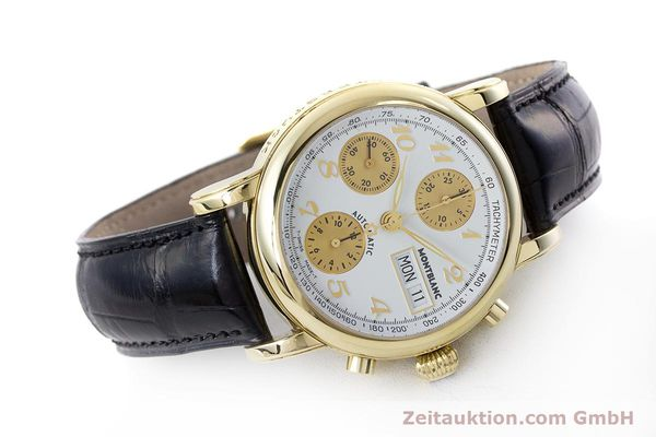 Used luxury watch Montblanc Meisterstück chronograph 18 ct gold automatic Kal. 4810501 ETA 7750 Ref. 7000  | 161304 03