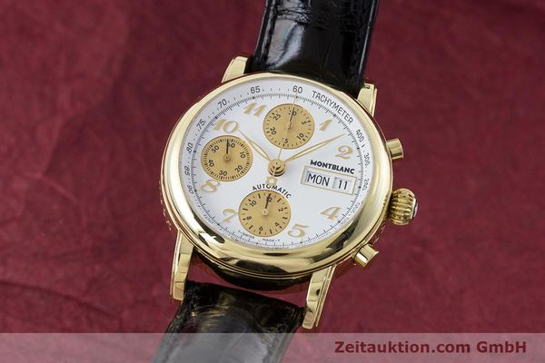 Used luxury watch Montblanc Meisterstück chronograph 18 ct gold automatic Kal. 4810501 ETA 7750 Ref. 7000  | 161304 04