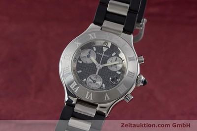 CARTIER CHRONOSCAPH 21 CHRONOGRAPH HERRENUHR MEDIUM STAHL / KAUTSCHUK [161366]