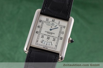 CARTIER 18K WEISSGOLD TANK REGULATEUR HANDAUFZUG 2919 GLASBODEN VP: 20800,- Euro [161657]
