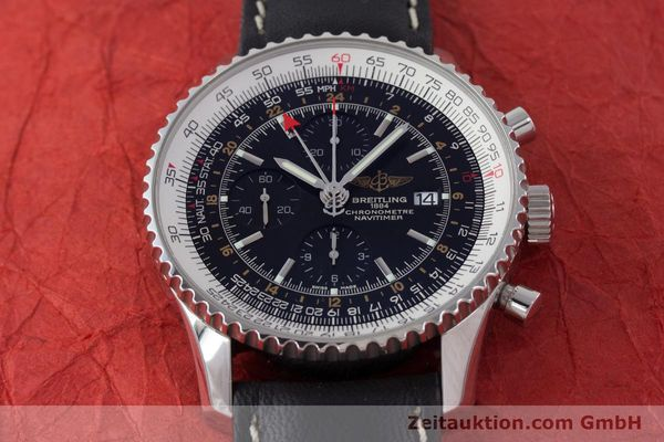 Used luxury watch Breitling Navitimer World chronograph steel automatic Kal. B24 ETA 7754 Ref. A24322  | 161669 14