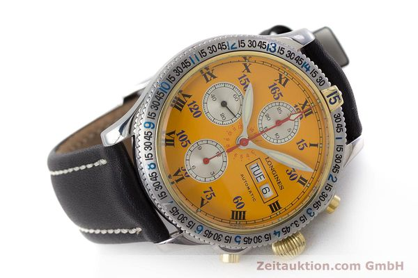 Used luxury watch Longines Lindbergh Stundenwinkel chronograph steel / gold automatic Kal. L674.8 ETA 7750 Ref. L2.618.5  | 161728 03