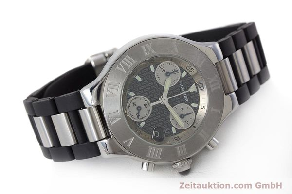 Used luxury watch Cartier Chronoscaph 21 chronograph steel quartz Kal. 372 ETA 251372 Ref. 2424  | 161766 03