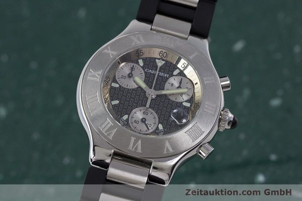 Used luxury watch Cartier Chronoscaph 21 chronograph steel quartz Kal. 372 ETA 251372 Ref. 2424  | 161766 04