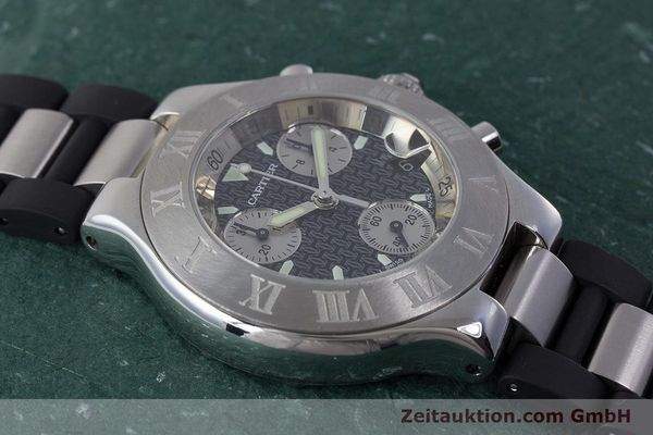 Used luxury watch Cartier Chronoscaph 21 chronograph steel quartz Kal. 372 ETA 251372 Ref. 2424  | 161766 12