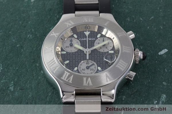Used luxury watch Cartier Chronoscaph 21 chronograph steel quartz Kal. 372 ETA 251372 Ref. 2424  | 161766 13