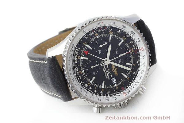 Used luxury watch Breitling Navitimer World chronograph steel automatic Kal. B24 ETA 7754 Ref. A24322  | 161844 03