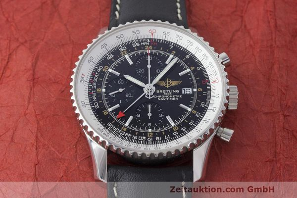 Used luxury watch Breitling Navitimer World chronograph steel automatic Kal. B24 ETA 7754 Ref. A24322  | 161844 14