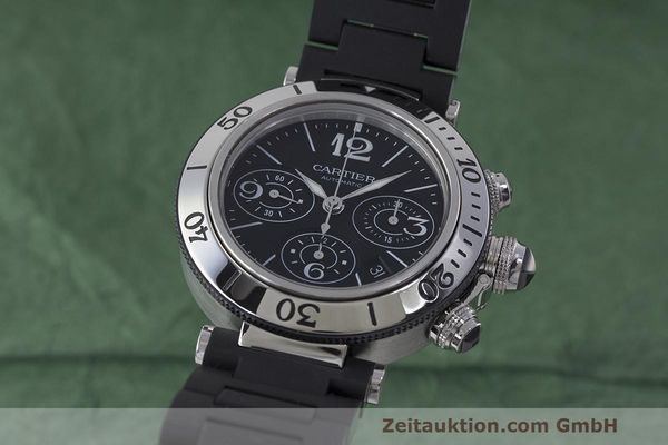 Used luxury watch Cartier Pasha chronograph steel automatic Kal. 8630 ETA 7753 Ref. 2995  | 162015 04