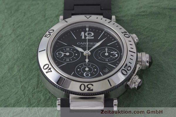 Used luxury watch Cartier Pasha chronograph steel automatic Kal. 8630 ETA 7753 Ref. 2995  | 162015 15