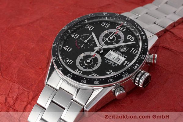 Used luxury watch Tag Heuer Carrera chronograph steel automatic Kal. 16 ETA 7750 Ref. CV2A10  | 162111 01