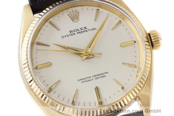 Used luxury watch Rolex Oyster Perpetual 18 ct gold automatic Kal. 1560 Ref. 1002  | 162179 02