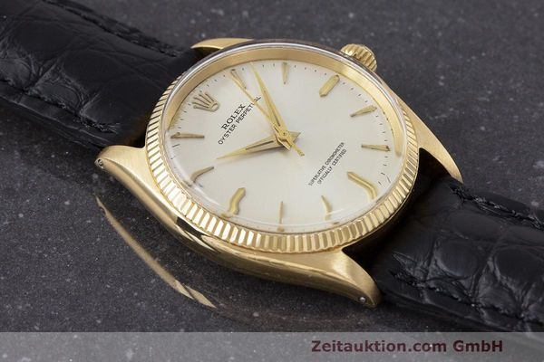 Used luxury watch Rolex Oyster Perpetual 18 ct gold automatic Kal. 1560 Ref. 1002  | 162179 13